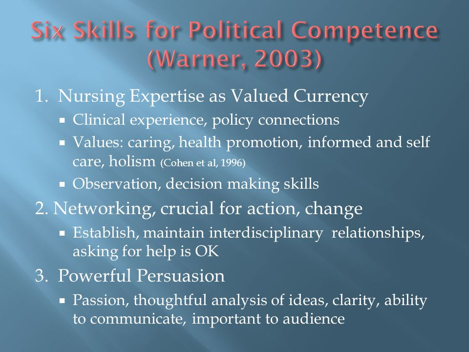 Six Skills for Political Competence (Warner, 2003)