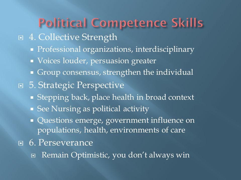 Political Competence Skills