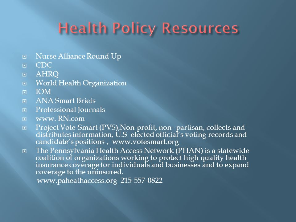 Health Policy Resources