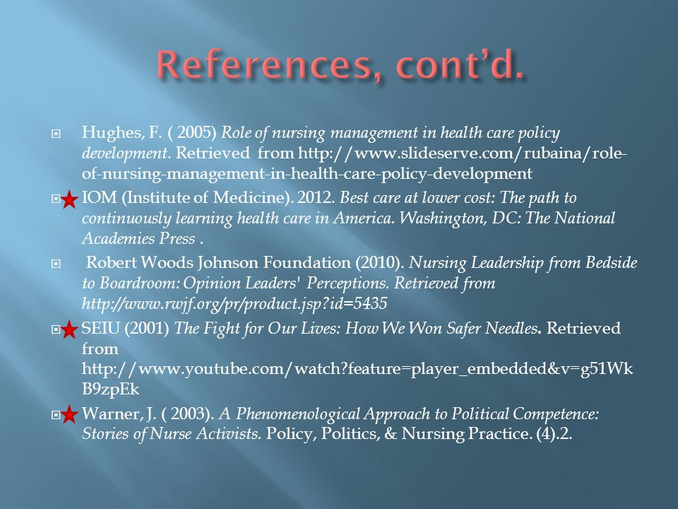 References, cont'd.