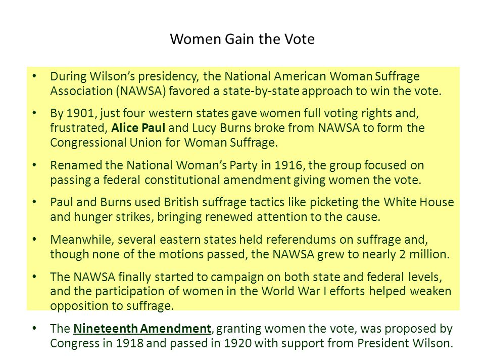 Women Gain the Vote