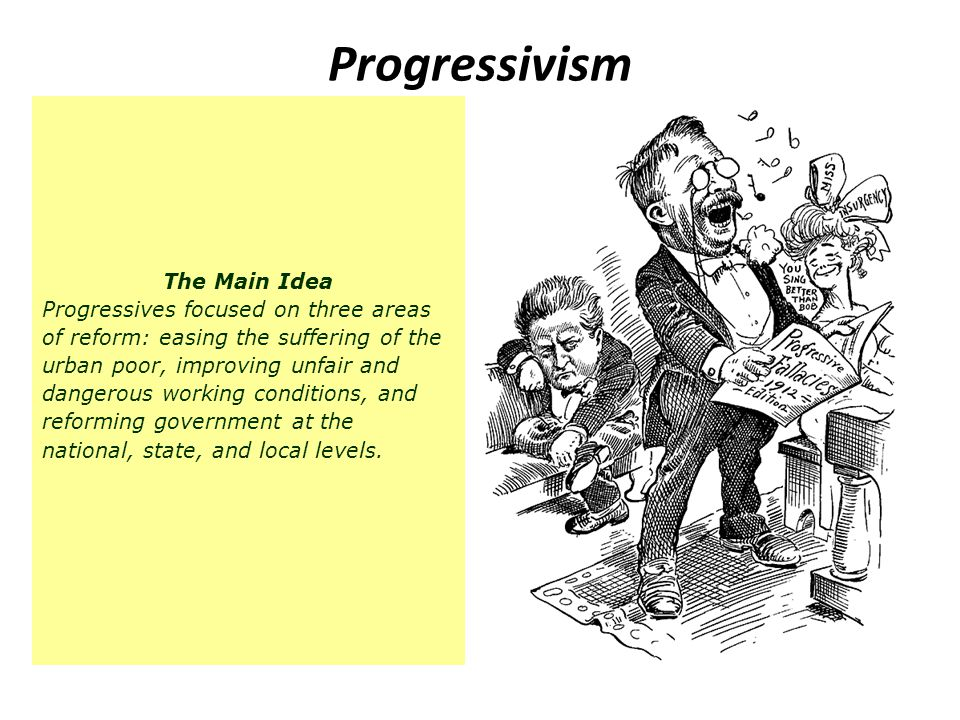 Progressivism The Main Idea Progressives focused on three areas