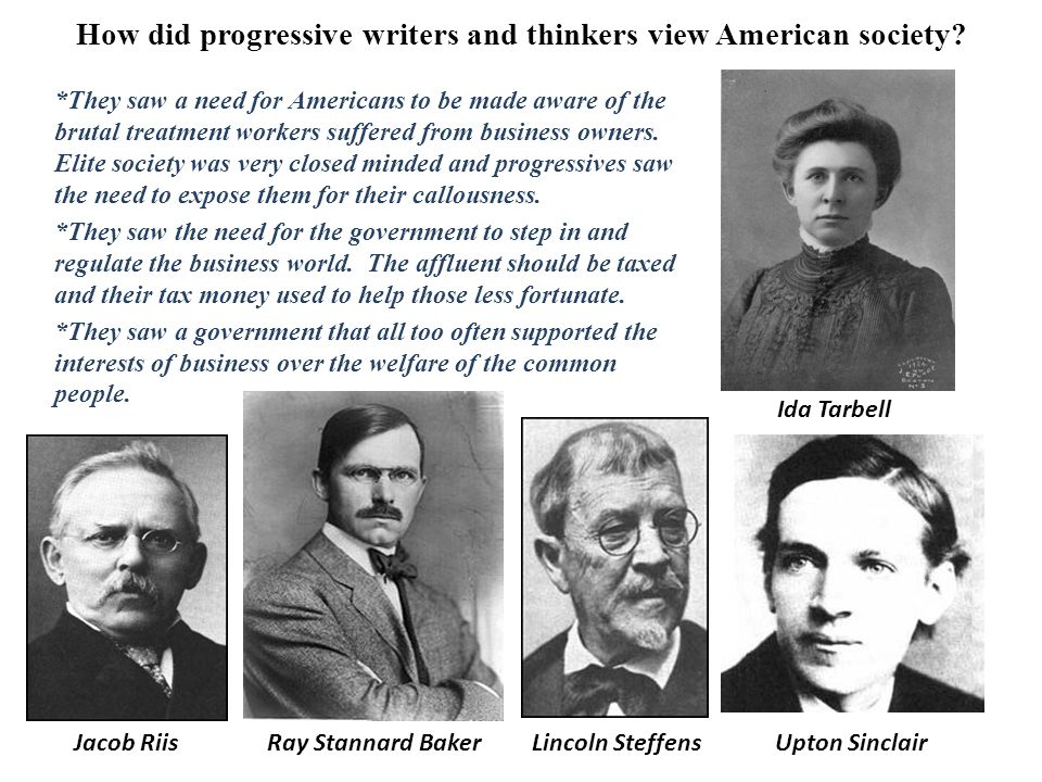 How did progressive writers and thinkers view American society