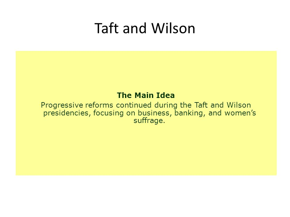 Taft and Wilson The Main Idea