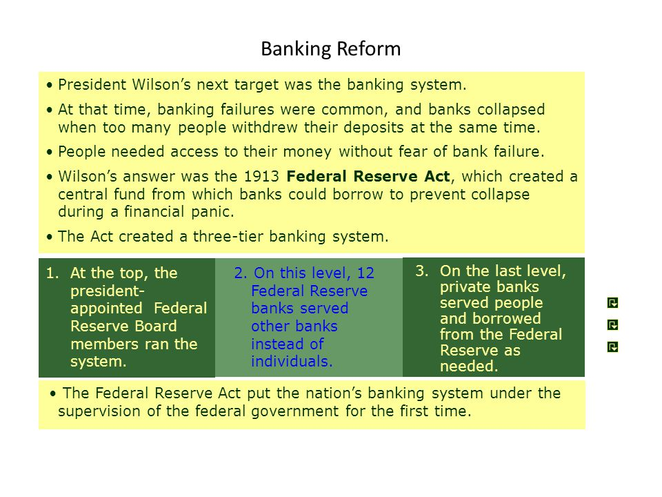 Banking Reform President Wilson's next target was the banking system.