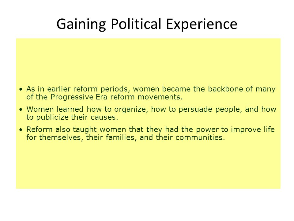 Gaining Political Experience