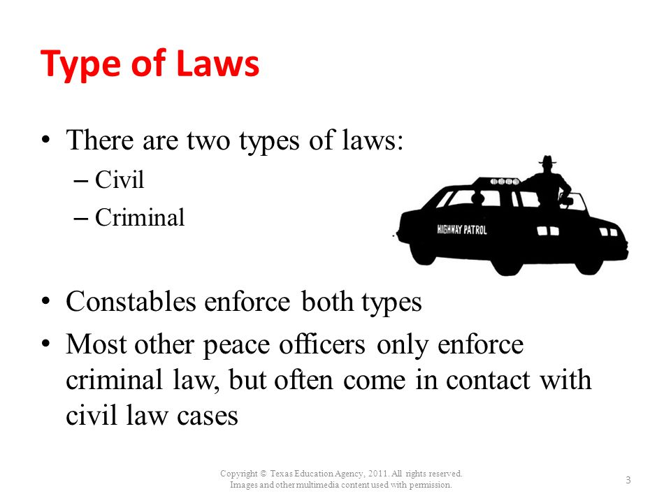 Type of Laws There are two types of laws: