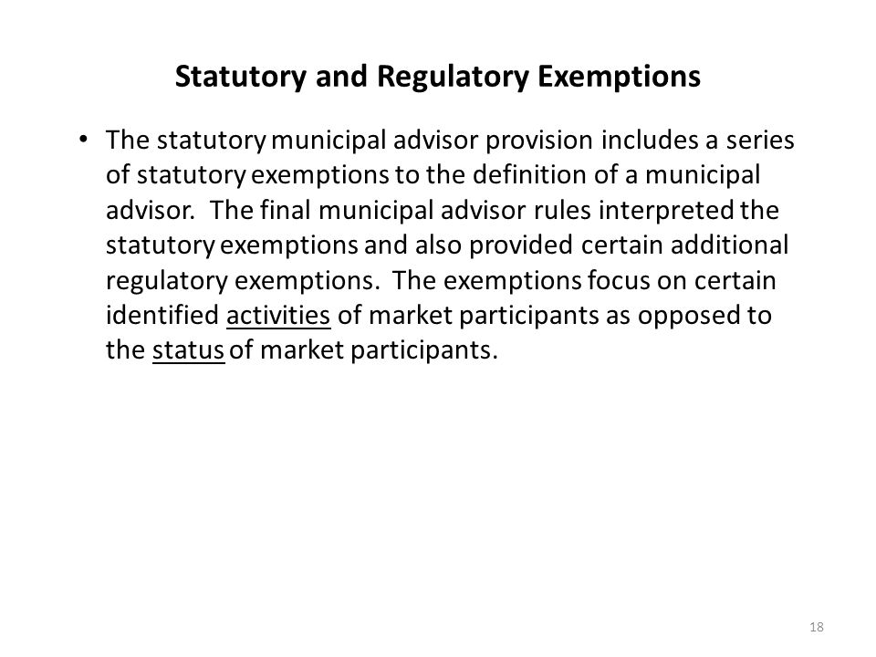 Statutory and Regulatory Exemptions