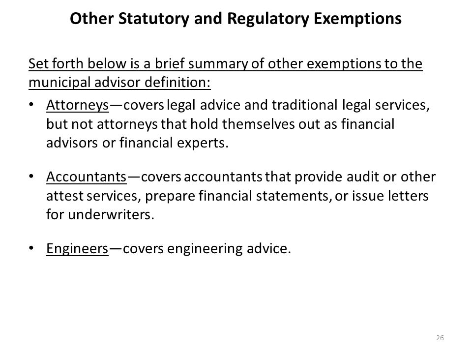 Other Statutory and Regulatory Exemptions