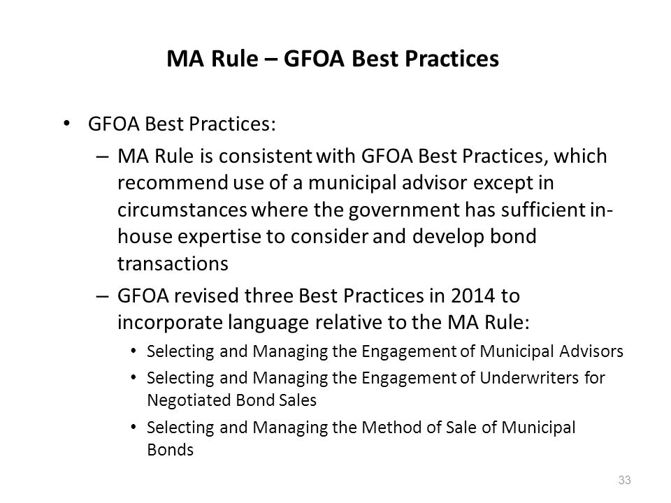 MA Rule – GFOA Best Practices