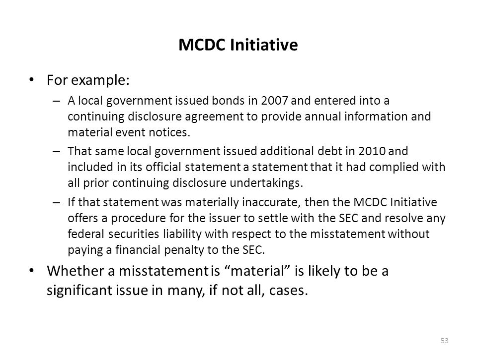 MCDC Initiative For example: