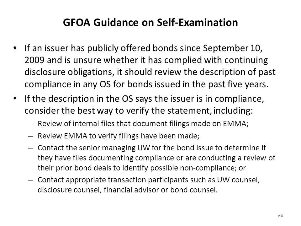 GFOA Guidance on Self-Examination