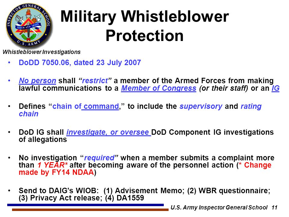 Military Whistleblower Protection
