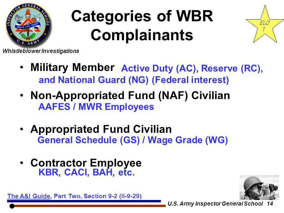 Categories of WBR Complainants