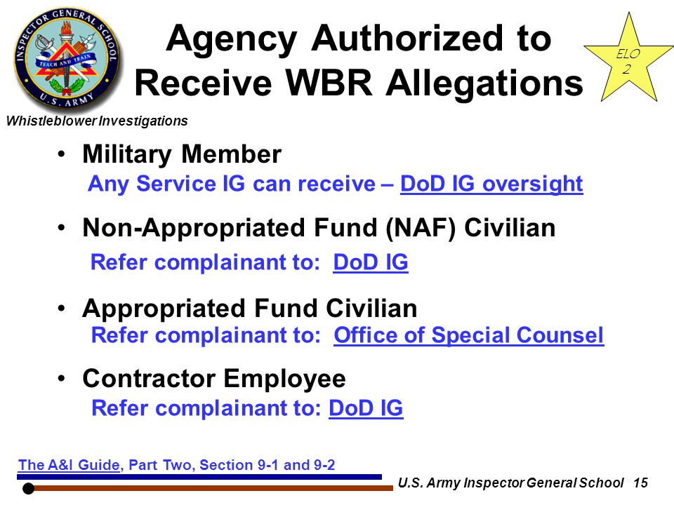 Agency Authorized to Receive WBR Allegations
