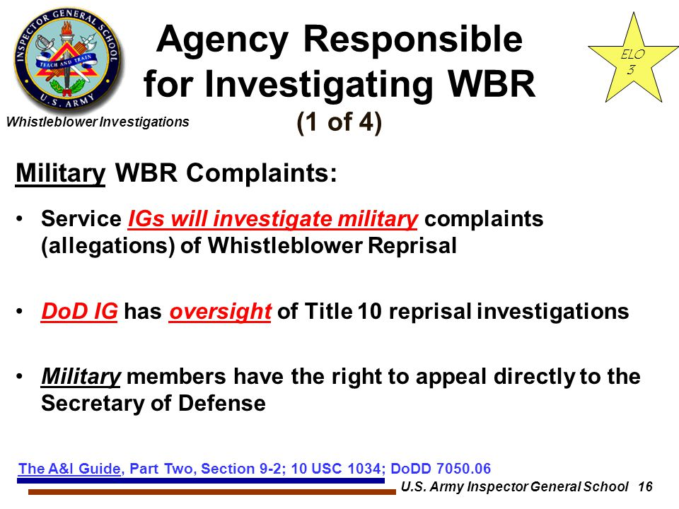Agency Responsible for Investigating WBR (1 of 4)