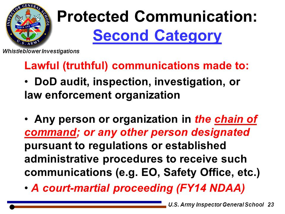 Protected Communication: Second Category