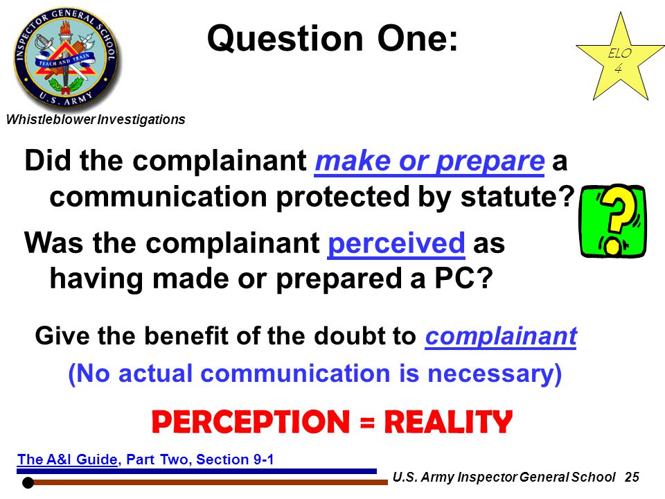 Question One: PERCEPTION = REALITY