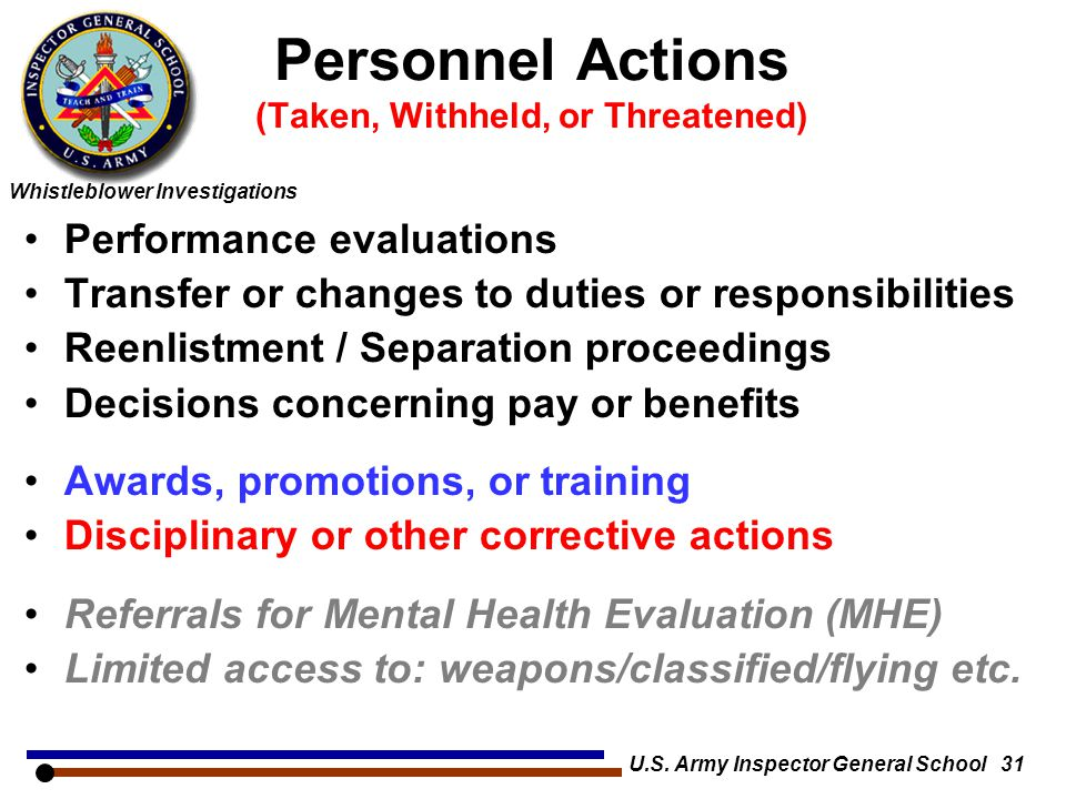 Personnel Actions (Taken, Withheld, or Threatened)