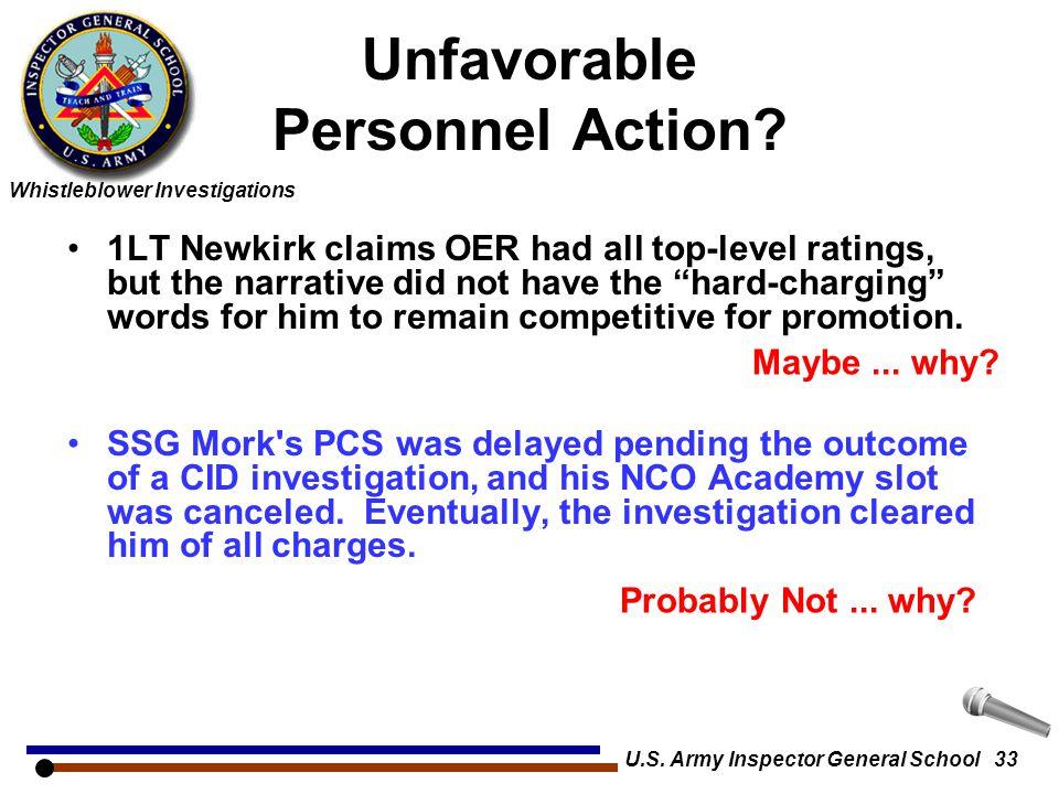 Unfavorable Personnel Action