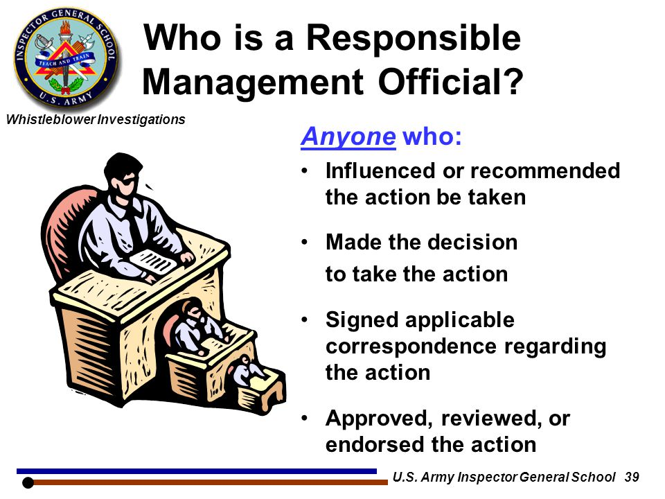 Who is a Responsible Management Official