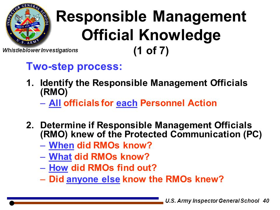 Responsible Management Official Knowledge (1 of 7)