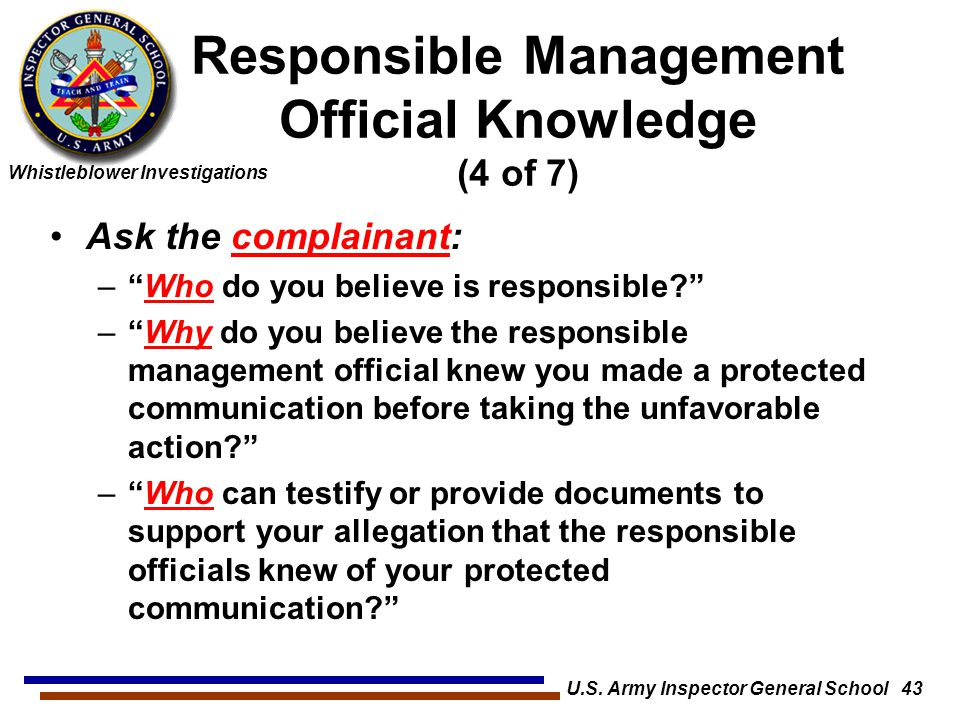 Responsible Management Official Knowledge (4 of 7)