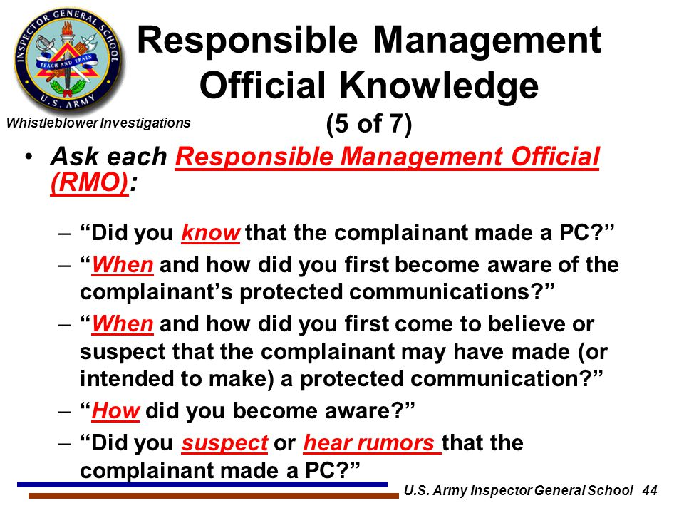 Responsible Management Official Knowledge (5 of 7)
