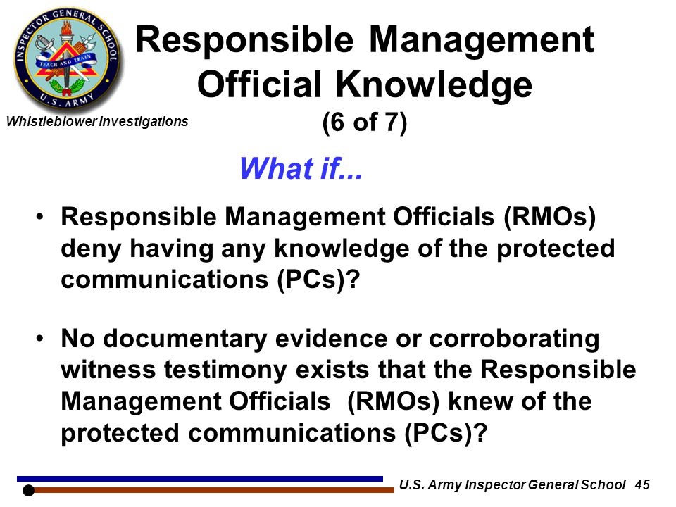 Responsible Management Official Knowledge (6 of 7)
