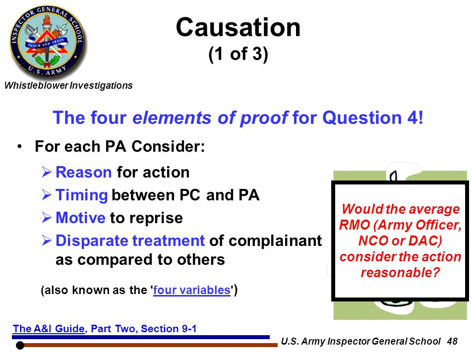 Causation (1 of 3) The four elements of proof for Question 4!