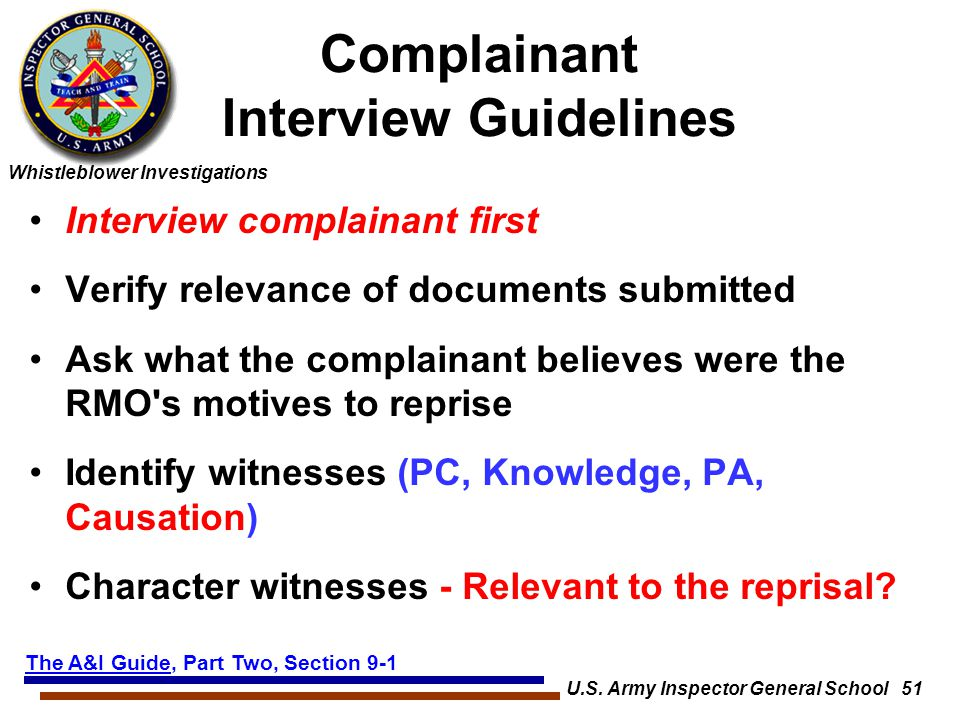 Complainant Interview Guidelines
