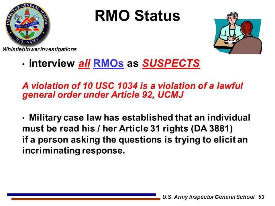 U.S. Army Inspector General School 53