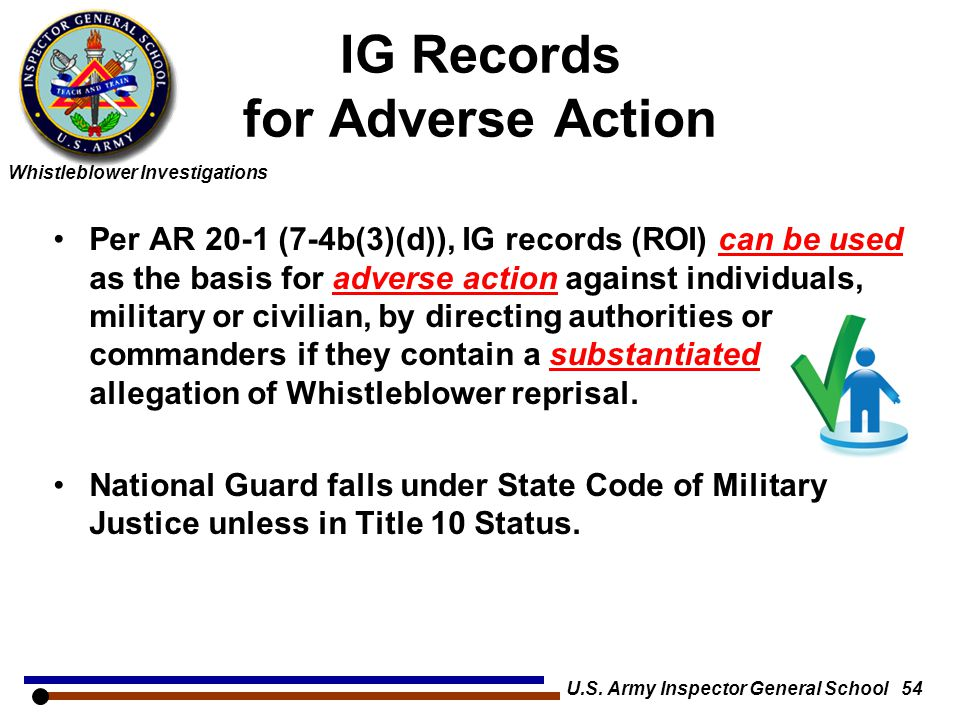 IG Records for Adverse Action