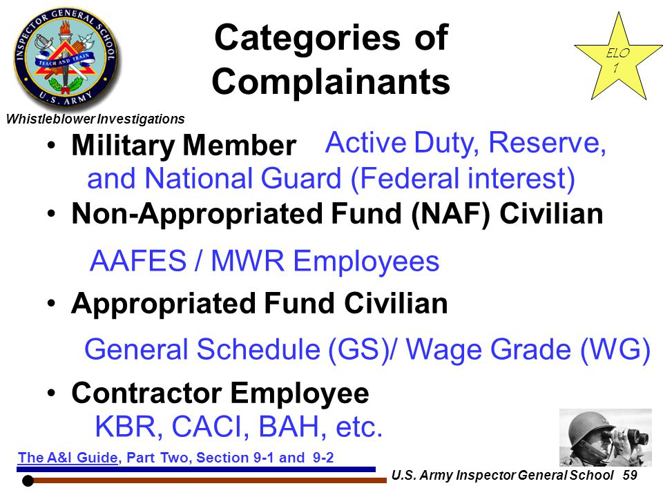 Categories of Complainants