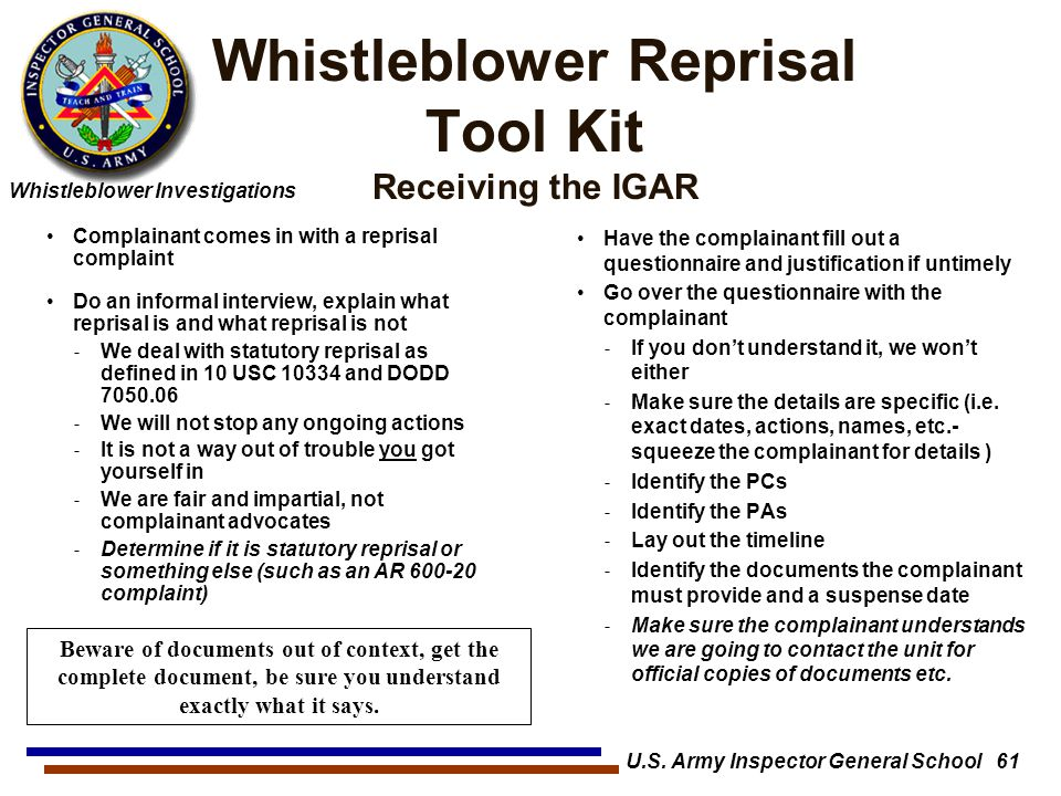 Whistleblower Reprisal Tool Kit Receiving the IGAR