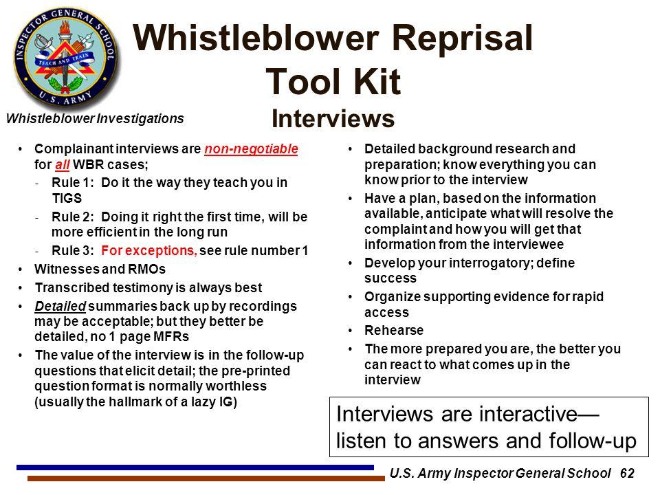 Whistleblower Reprisal Tool Kit Interviews