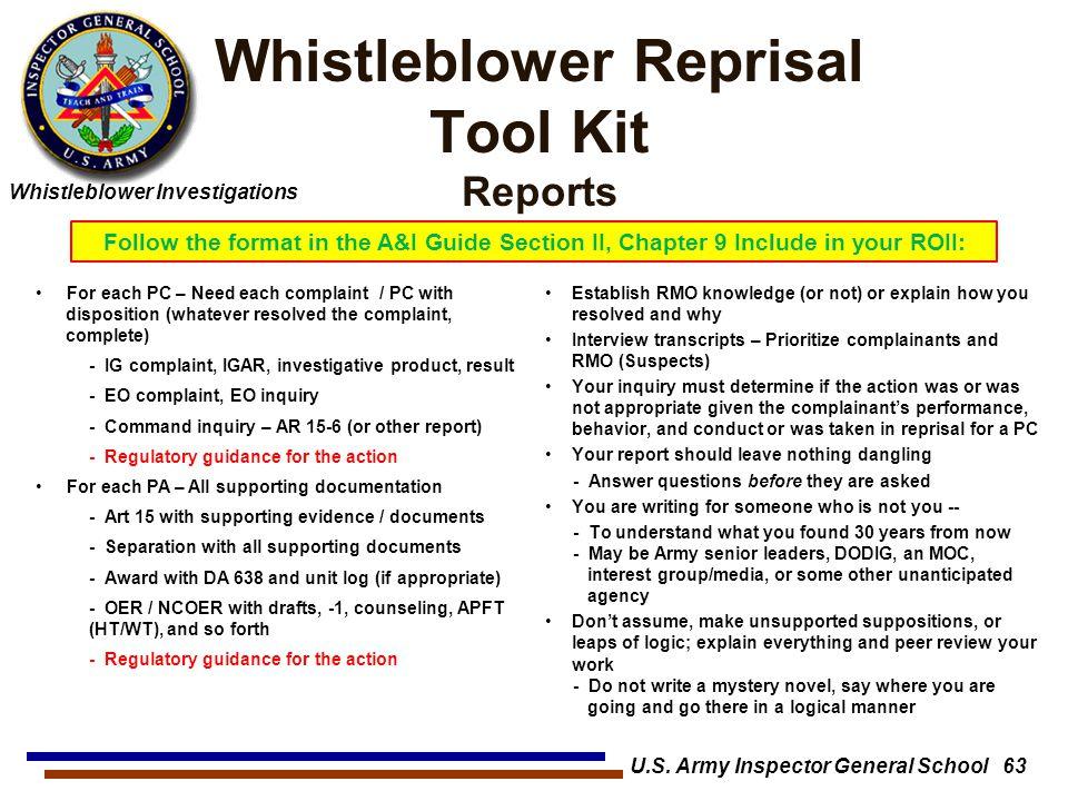 Whistleblower Reprisal Tool Kit Reports