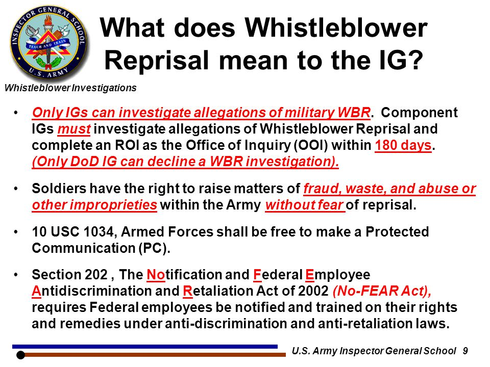 What does Whistleblower Reprisal mean to the IG