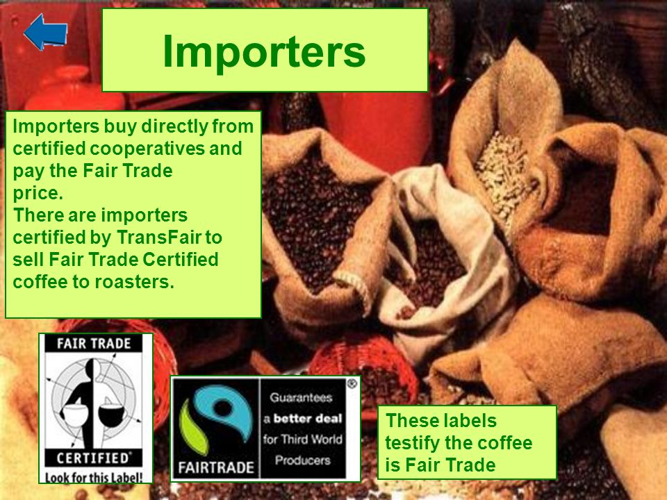Importers Importers buy directly from certified cooperatives and pay the Fair Trade. price. There are importers.