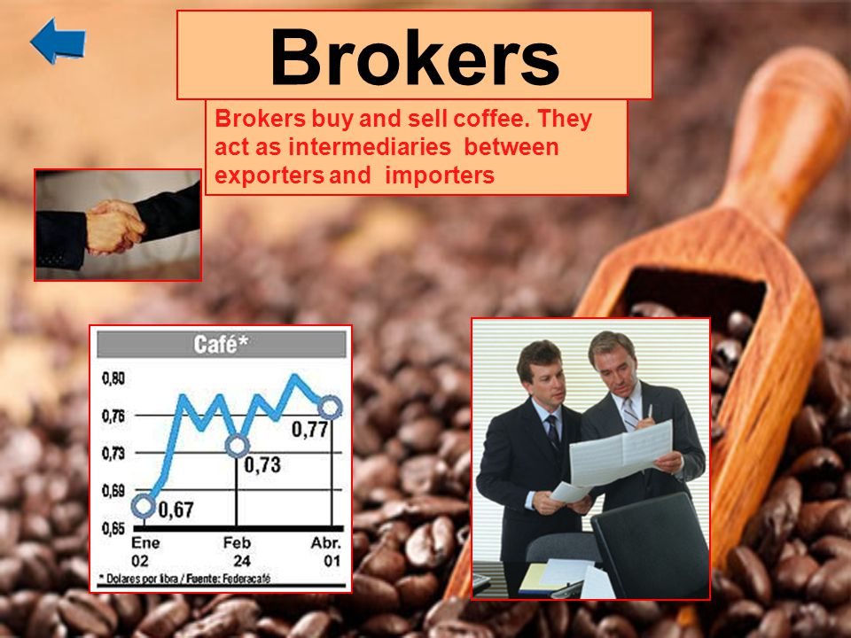 Brokers Brokers buy and sell coffee. They act as intermediaries between exporters and importers