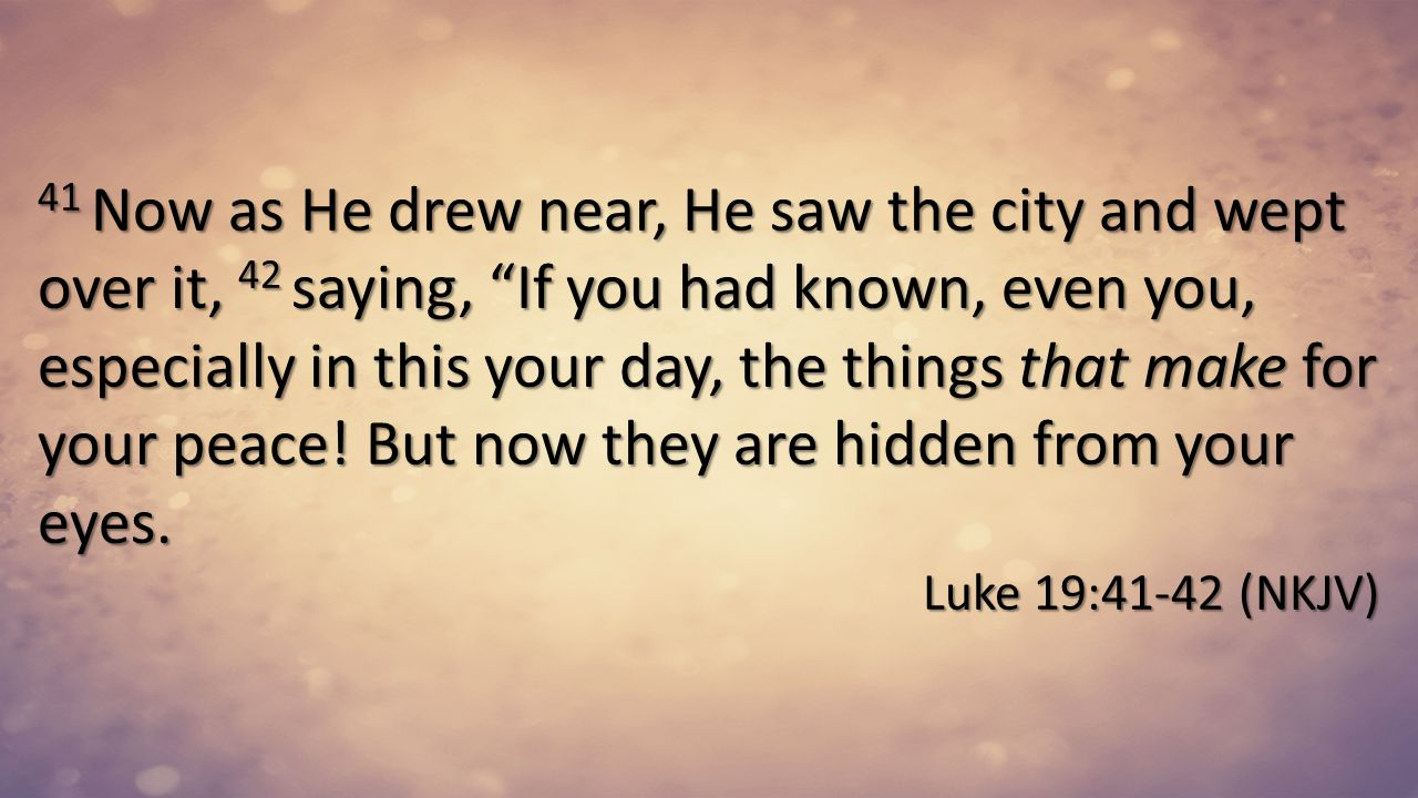 41 Now as He drew near, He saw the city and wept over it, 42 saying, If you had known, even you, especially in this your day, the things that make for your peace! But now they are hidden from your eyes.