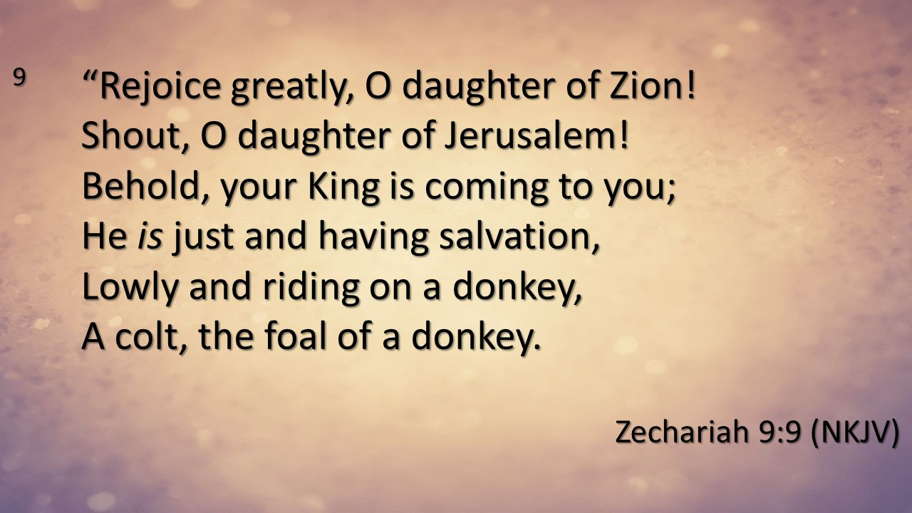 9 Rejoice greatly, O daughter of Zion! Shout, O daughter of Jerusalem! Behold, your King is coming to you; He is just and having salvation, Lowly and riding on a donkey, A colt, the foal of a donkey.