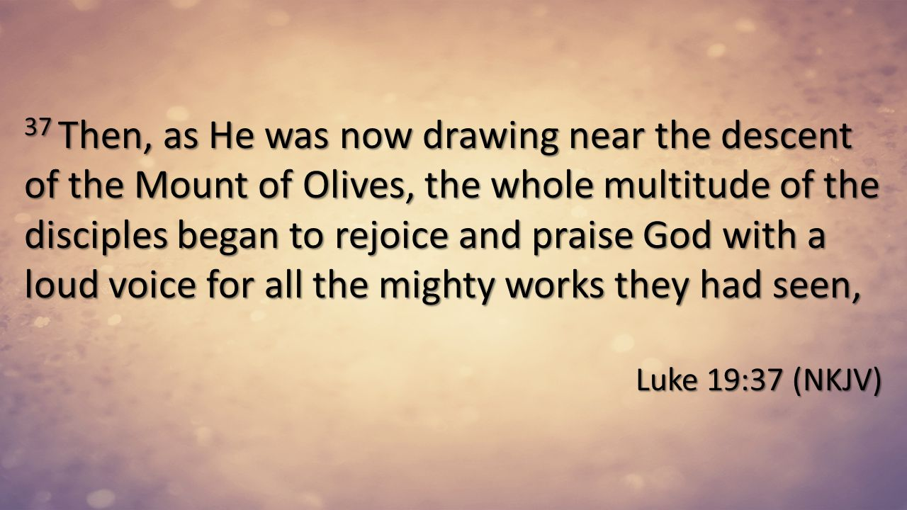 37 Then, as He was now drawing near the descent of the Mount of Olives, the whole multitude of the disciples began to rejoice and praise God with a loud voice for all the mighty works they had seen,