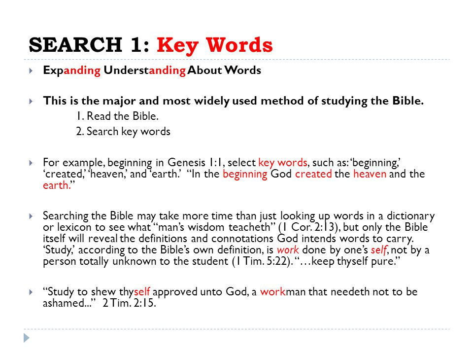 SEARCH 1: Key Words Expanding Understanding About Words