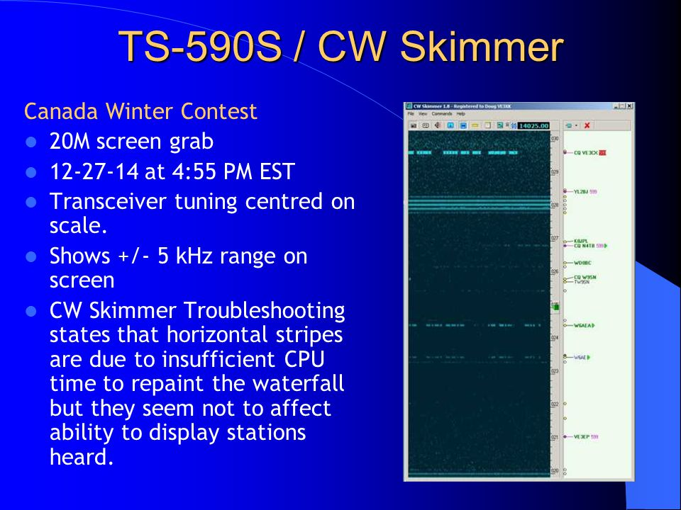 TS-590S / CW Skimmer Canada Winter Contest 20M screen grab