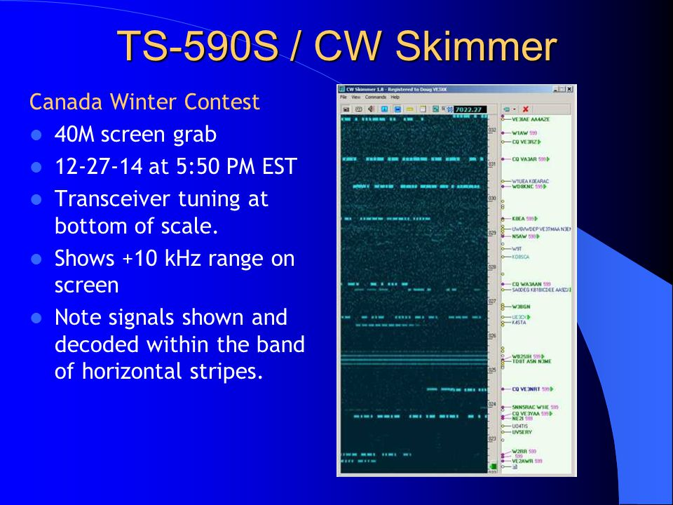 TS-590S / CW Skimmer Canada Winter Contest 40M screen grab