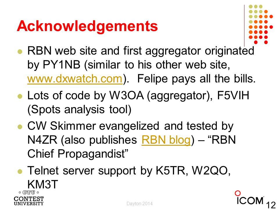 Acknowledgements RBN web site and first aggregator originated by PY1NB (similar to his other web site, www.dxwatch.com). Felipe pays all the bills.