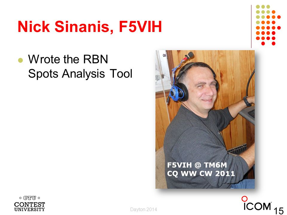 Nick Sinanis, F5VIH Wrote the RBN Spots Analysis Tool Dayton 2014 15