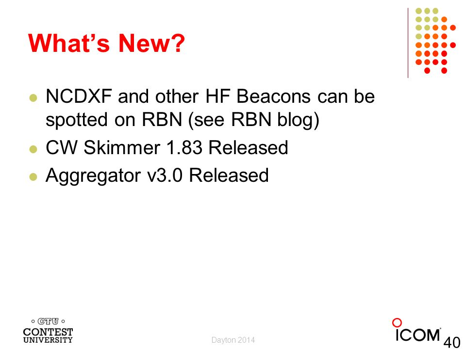 What's New NCDXF and other HF Beacons can be spotted on RBN (see RBN blog) CW Skimmer 1.83 Released.