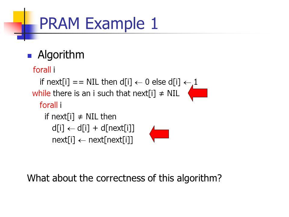 PRAM Example 1 Algorithm forall i